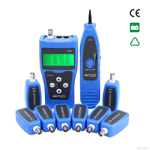 KOLSOL AT112 Network Ethernet LAN Phone Wire Tester USB Coaxial Cable With 8 Far-end Jacks BNC RJ45 RJ11 Line Finder Remote Cable Tracker